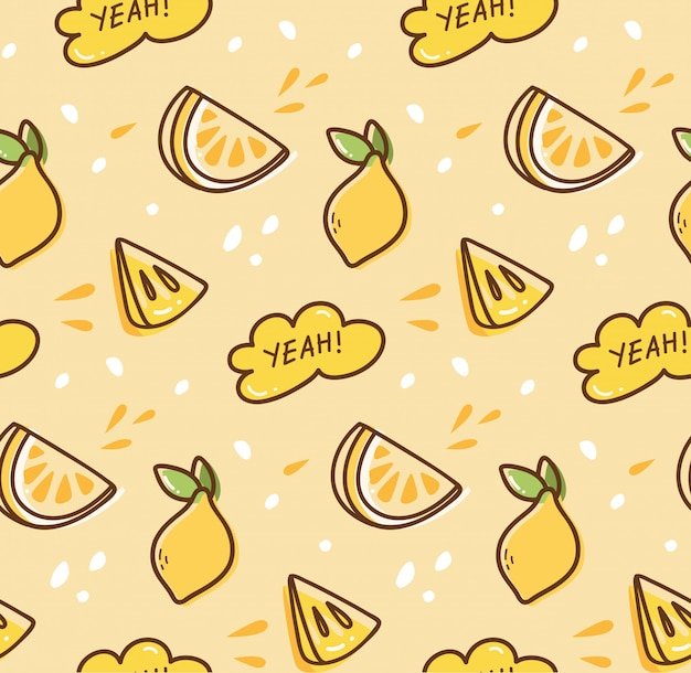 Fond transparent de fruits citron dans un style kawaii