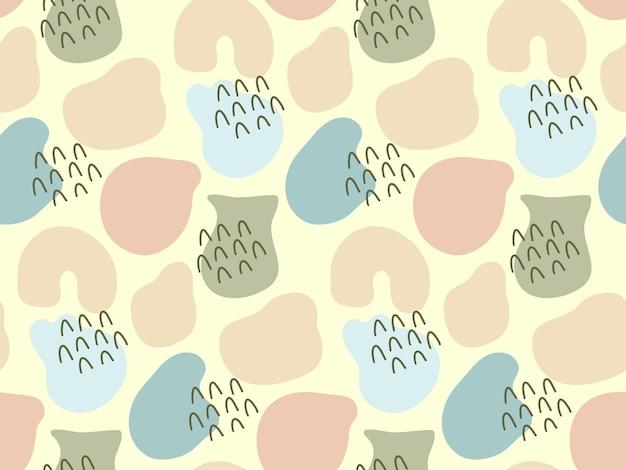 Fond transparent avec des gouttes de forme organique aléatoire de couleur pastel griffonnages dessinés à la main
