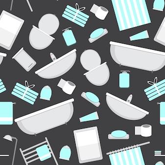 Fond transparent avec des icônes de salle de bain pour votre conception