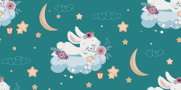 Fond transparent avec lapin endormi sur cloud