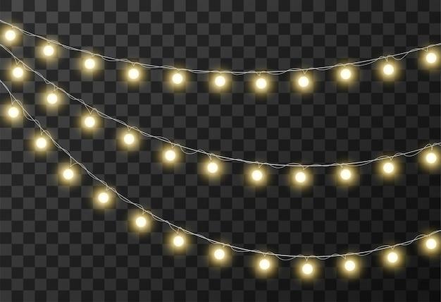 Fond transparent de lumières de noël