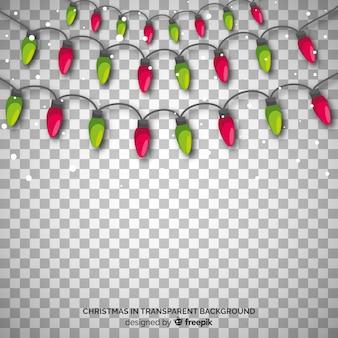 Fond transparent de lumières rouge et vert de noël