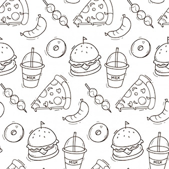 Fond transparent de la malbouffe en illustration de style doodle