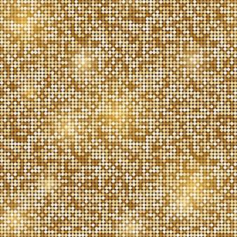 Fond transparent mosaïque ronde scintillante d'or