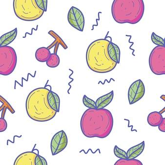 Fond transparent de motif de griffonnage de fruits colorés
