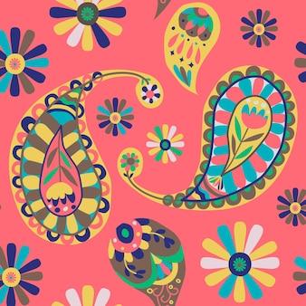 Fond transparent motif paisley indien rose vibrant