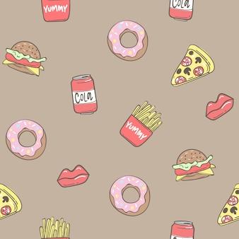 Fond transparent avec pizza, beignets, pommes de terre frites, sandwich, illustration vectorielle eps 10