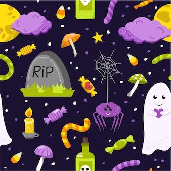 Fond transparent pour halloween. illustration en style cartoon.