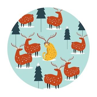 Fond transparent avec rennes et vecteur de léopard