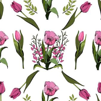 Fond transparent avec des tulipes roses colorées. illustration vectorielle. floral fond transparent avec des tulipes colorées. ambiance printanière. la texture du tissu, le design des coffrets cadeaux. graphique vectoriel