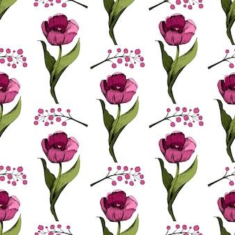 Fond transparent avec des tulipes roses colorées