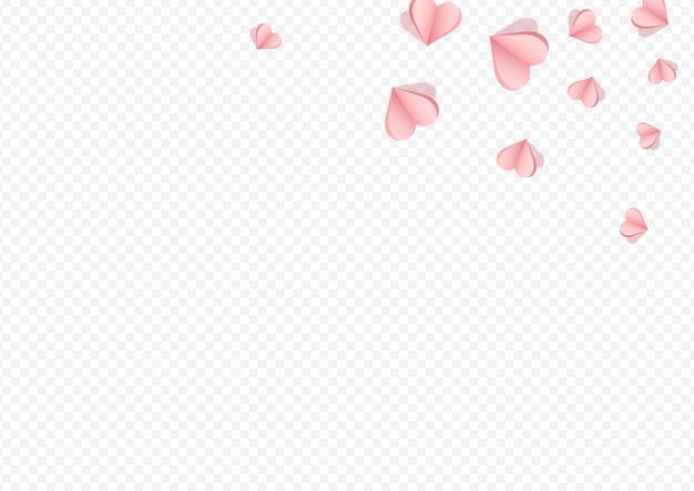 Fond transparent de vecteur de confettis roses. bonne conception de papier découpé. carte postale de coeur de romance de couleur marron.