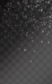 Fond transparent de vecteur de neige argentée. vacances de flocon de neige de noël. texture abstraite grise. conception de chutes de neige de vacances.