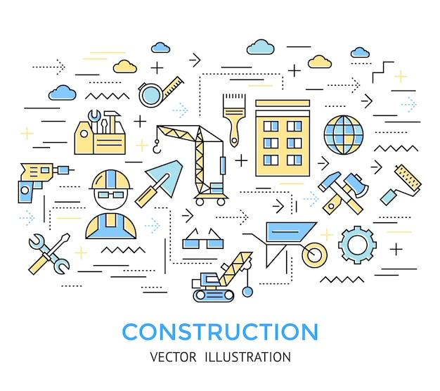 Fond de travail de ligne de construction