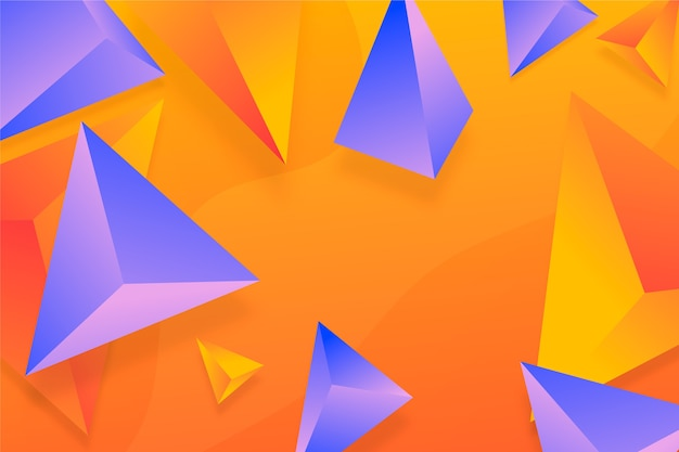 Fond de triangle 3d violet et orange