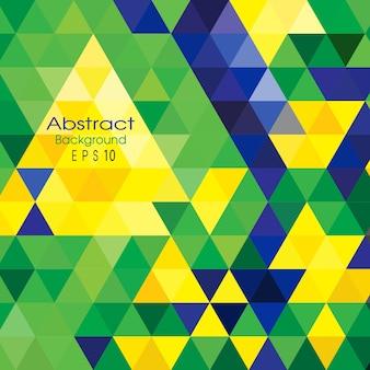 Fond de triangle de vecteur dans la couleur du drapeau du brésil.