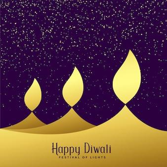 Fond de trois diwali doré créatif