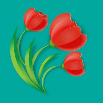 Fond trois fleurs de tulipes rouges avec des feuilles vertes vector illustration isolé sur bleu. plantes printanières en fleurs au design réaliste