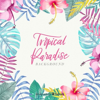 Fond tropical aquarelle coloré