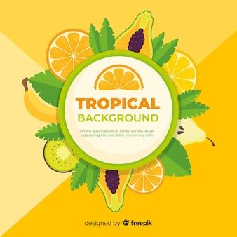Fond tropical coloré avec des fruits