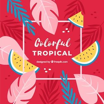 Fond tropical coloré avec un design plat
