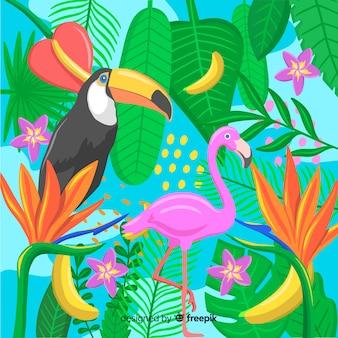 Fond tropical dessiné à la main