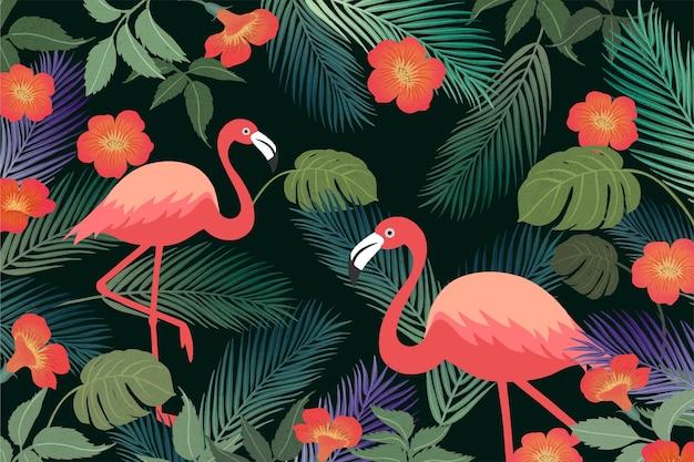 Fond tropical d'été avec flamant rose et feuilles exotiques.