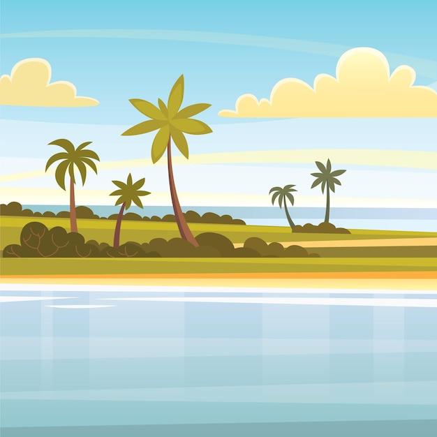 Fond tropical d'été avec des palmiers