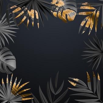 Fond tropical de feuille de palmier noir et or réaliste naturel.
