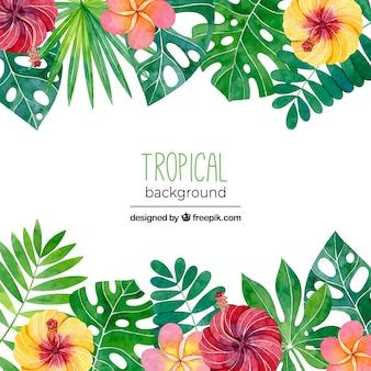 Fond tropical avec des feuilles et des fleurs dans un style aquarelle