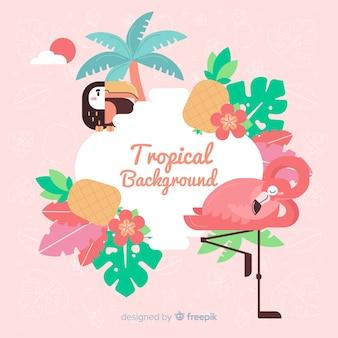 Fond tropical avec flamant rose et fleurs