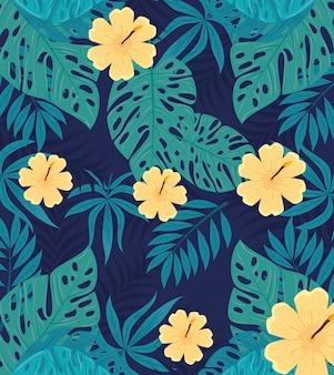 Fond tropical, fleurs de couleur jaune et plantes tropicales, décoration avec fleurs et feuilles tropicales