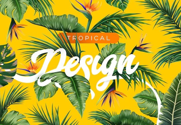 Fond tropical lumineux avec des plantes de la jungle motif exotique avec des feuilles tropicales