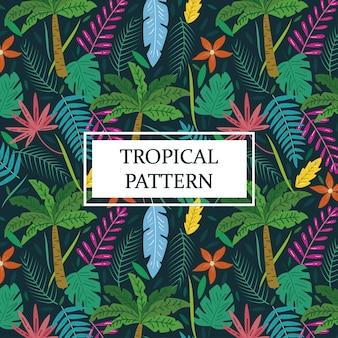 Fond tropical avec des palmiers et des feuilles