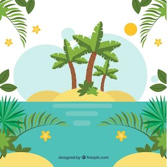 Fond tropical avec des palmiers