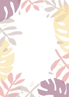 Fond tropical ou toile de fond décorée de feuilles translucides colorées de plantes de la jungle
