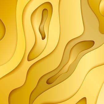 Fond de trou découpé en papier doré. abstrait avec du papier or découpé des formes. arrière-plan pour affiche et présentation d'entreprise. illustration