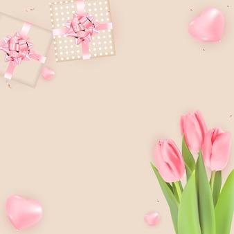 Fond avec des tulipes et des coffrets cadeaux.