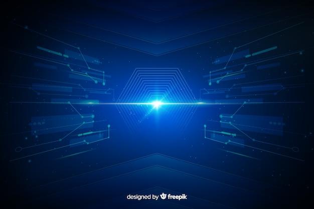 Fond de tunnel de lumière d'interface technologique