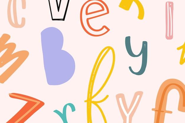 Fond de typographie alphabet doodle