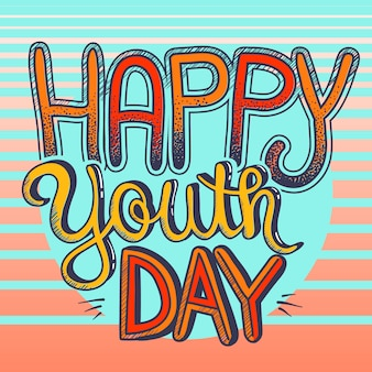Fond de typographie décorative happy youth day