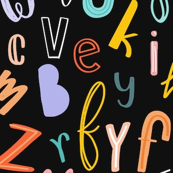 Fond de typographie doodle alphabet dessiné à la main