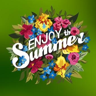 Fond typographique de l'été avec différentes plantes et fleurs.