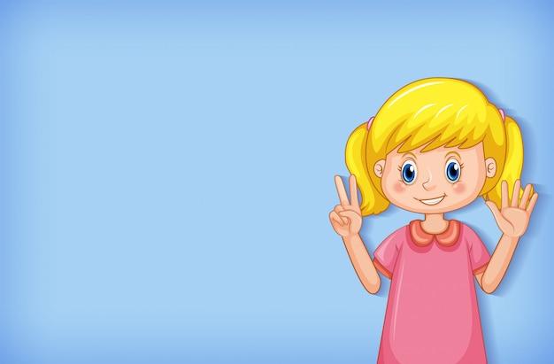 Fond uni avec fille agitant les mains