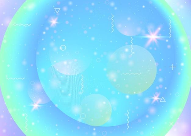 Fond d'univers avec des formes de galaxie et de cosmos et de la poussière d'étoile. paysage spatial fantastique avec des planètes. fluide 3d avec des étincelles magiques. gradients futuristes holographiques. contexte de l'univers de memphis.
