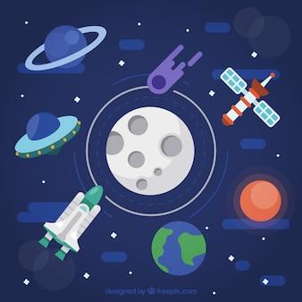 Fond d'univers avec la lune et d'autres éléments spatiaux