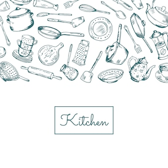 Fond avec des ustensiles de cuisine avec la place pour l'illustration de texte