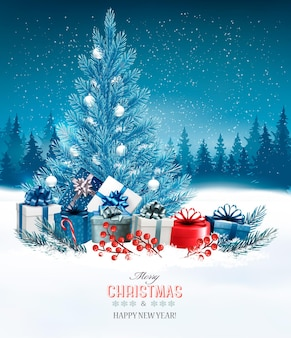 Fond de vacances avec un arbre de noël bleu et des cadeaux
