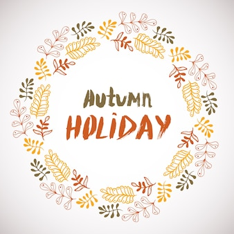 Fond de vacances automne. cercle cadre dessiné à la main. bannière colorée avec des feuilles. vecteur