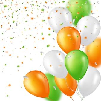 Fond de vacances avec des ballons et des confettis brillants de trois couleurs. éléments avec effet de flou. illustration vectorielle.
